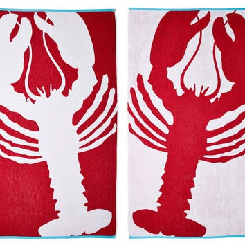 Lobster Beach Towel, True Red/Turquoise, Beach Towels