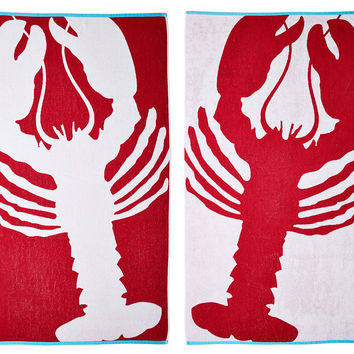 Lobster Beach Towel True Red Turquoise From One Kings Lane