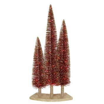 Pre-Lit LED Red Glitter Artificial Mini Village Christmas Tree Trio Set