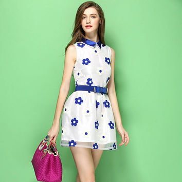Graceful Embroidery Bowknot Belt Dress/Party Dress