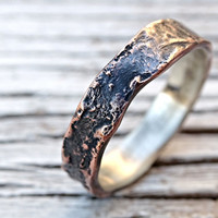 copper silver ring, unique mens ring copper, personalized mens ring copper wedding band for men, molten ring, promise ring wood structure