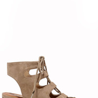 Talk That Talk Natural Suede Lace-Up Sandals