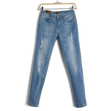 Boyfriend Rinsed Denim Low Waist Stretch Slim Jeans Skinny Pants [8173410631]