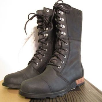 Womens 6-10.5 Sorel Major Maverick Leather Military Anthropologie Boots - Black