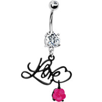 Crystalline Gem Script Love Belly Ring | Body Candy Body Jewelry