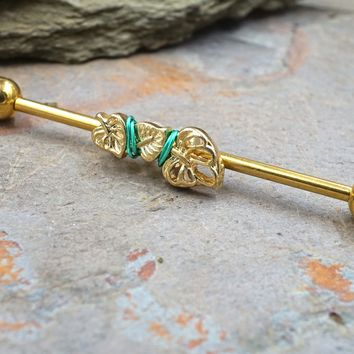 Gold Leaf Leaves Industrial Barbell