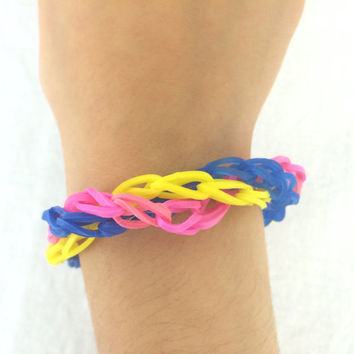 Triple Bracelet Made out of Rainbow Loom Handmade Rubber Bands Blue Yellow Pink