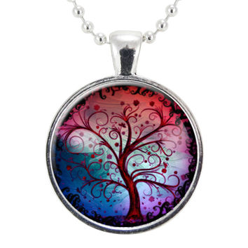 Tree Of Life Necklace, Pink And Blue Ombre Background