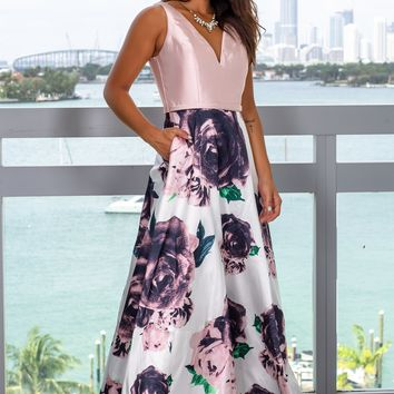 Blush Floral Maxi Dress with Pockets