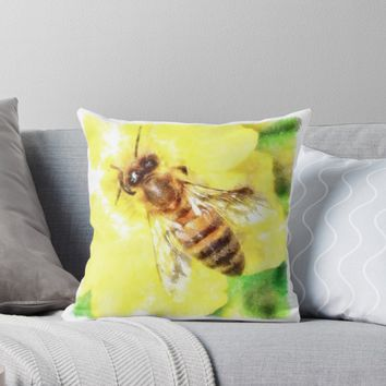 'The Pollen Collector Honeybee Watercolor' Throw Pillow by taiche