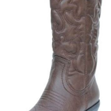 Women's Dark Tan Cowboy Leatherette Pointed Toe Knee High Boots Reno