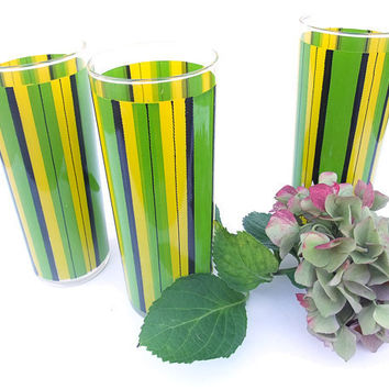 Vintage 60s Drinking Glasses Barware Yellow Green Black Stripe Tall Ice Tea Tumbler