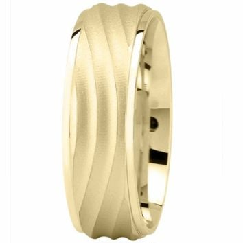 Wedding Band - Yellow Gold Wave Wedding Band for Men