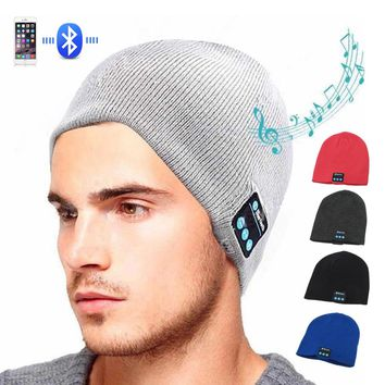 Sport Wireless Bluetooth Headset Music Hat Colorful Smart Cap Headphones Beanie Warm Winter Hat With Speaker Mic