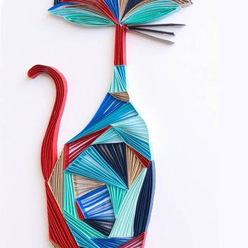The Cool Cat - Unique Paper Quilled Wall Art for Home Decor (paper quilling handcrafted art piece made with love by an artist in California)