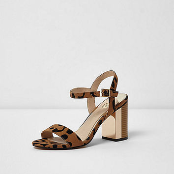 Beige leopard block heel barely there sandals - Sandals - Shoes & Boots - women