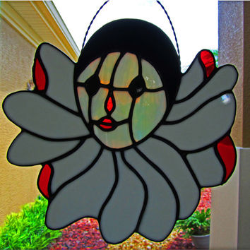 Stained Glass Clown Sun Catcher ~ Home Decor ~ Circus Clown ~ Circus Memorabilia ~ 10 X 9 1/4 Inches