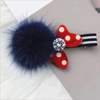Boutique Hair Ball Cute Minnie Mouse Ears Hair Clip Pin Accessories For Women Girl Children Hair Barrette Clip Hairpin Ornaments