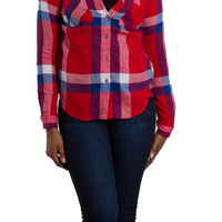 Polly and Esther Button Down Plaid Flannel Shirt for Women