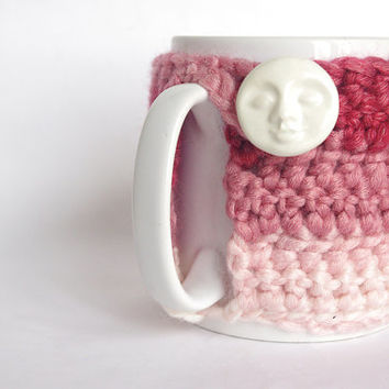 Cozy Mug Coffee Mug Warmer gradient Pink color white Moon Artisanal Ceramic button Sweater Tea Sleeve Cover Crochet Wool Ooak