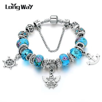 LongWay New Design Silver Plated Angle & Anchor Beads With Blue Crystal Glass Beads Bracelet for Women Jewelry SBR160147