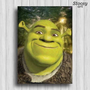 Shrek poster nursery wall art watercolor print