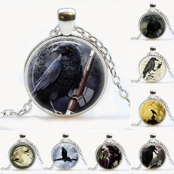 Silver Crow Necklace Bird pendant Black Bird Jewelry Animal Pendant Raven Necklace Bird Lover Gift Victorian Jewelry Animal