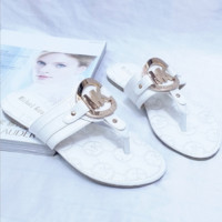 MK MICHAEL KORS Sweet Open Toe Metal Buckle Flat Sandals and slippers Sandals Shoes white