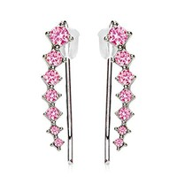 BodyJ4You Pair of Round Pink Crystals Ear Crawler Silvertone Ear Climber