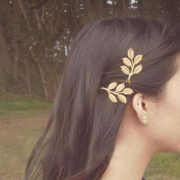 Hot New Fashion Wedding Hair Accessories Olive Branches Leaves Beautiful Bride Hairpin Side Folder Jewelry Headbands For Women