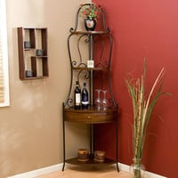 Space Saving Corner Bakers Rack with Wrought Iron Frame