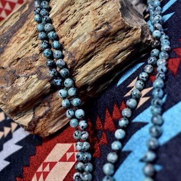 Turquoise Beaded Necklace w/ Black Veins