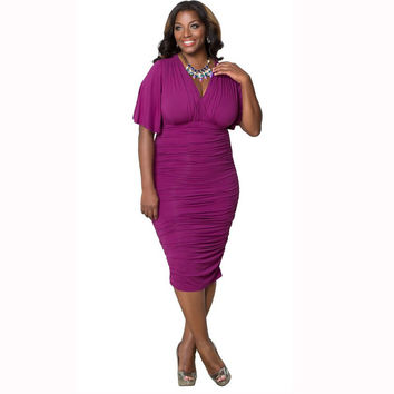 Purple V-Neck Ruched Bodycon Midi Dress