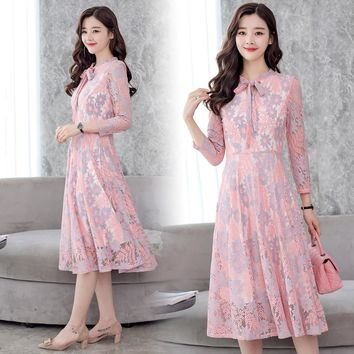 Spring Autumn Lace Dress Work Casual Slim Fashion O-neck Sexy Hollow Out Dresses Women Long Sleeve A-line Vintage Vestidos