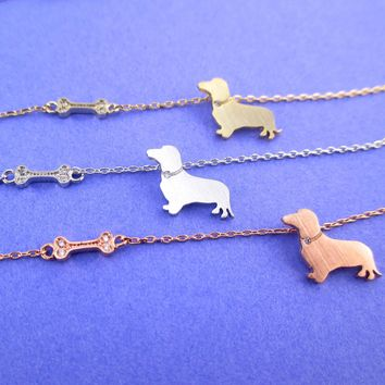 Wiener Dog Dachshund Puppy Dog Bone Silhouette Shaped Pendant Necklace