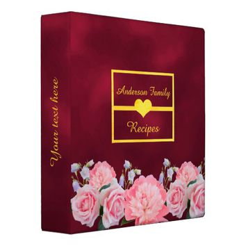 Family cookbook binder roses and peony on burgundy
