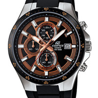 Casio Edifice Active Mens Chronograph - Black & Brown Dial - Resin Band - Steel