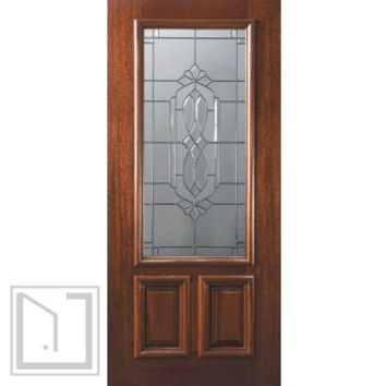 Slab Single Door 80 Wood Mahogany Kensington 2 Panel 2/3 Lite Glass
