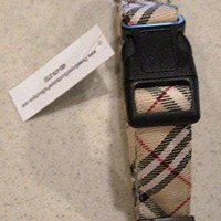"""Tan Plaid (Burberry Like) Dog Collar - Large 12-18"""" x 1"""" Wide - by Three Boys of Scottsdale Pet Boutique"""