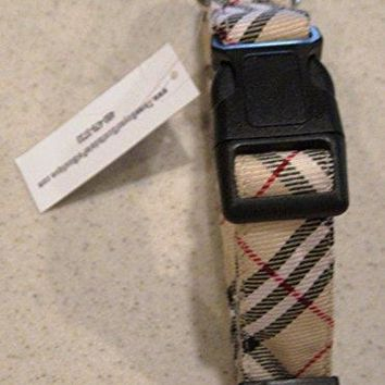 "Tan Plaid (Burberry Like) Dog Collar - Large 12-18"" x 1"" Wide - by Three Boys of Scottsdale Pet Boutique"