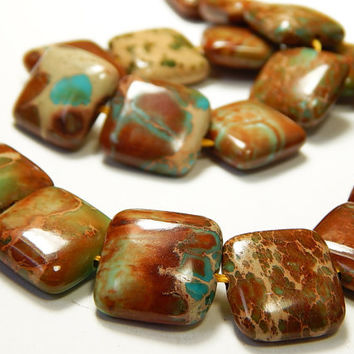 7 Inch Strand - 16x16x6mm Square Brown Sea Sediment Jasper Beads - Natural Gemstone Beads - Focal Beads - Jewelry Supplies