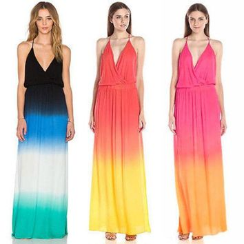 VONEL7C New Sexy Womens Bohemian Rainbow Evening Party Boho Summer Beach Long Maxi Dresses