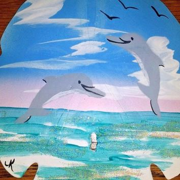 Decorative Hand Painted Collectible Large Sand Dollar Dolphin in Ocean Scene