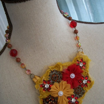 Autumn Bib Necklace - ROWAN - Bohemian Gypsy Textile Necklace with Rhinestone Buttons and Harvest Yellow Lace - Romantic Fall Inspired