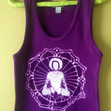 Meditating Buddha Batik yoga clothes tank top Eco friendly hand drawn - hand painted & hand  dyed purple women size XS, S, M, L, XL,XXL