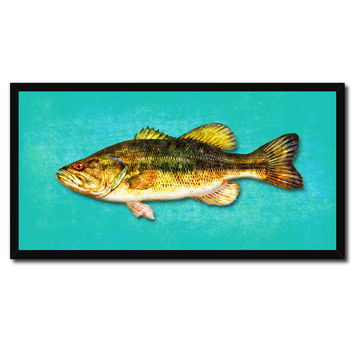 Bass Fish Aqua Canvas Print Picture Frame Gifts Home Decor Nautical Wall Art