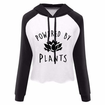 Power by plants Crop Top Pullover Hoodie