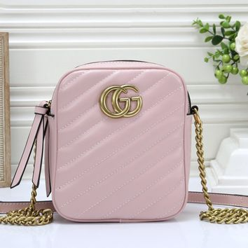 GUCCI tide brand female twill chain bag shoulder Messenger bag pink