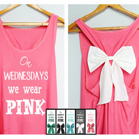 On sale On wednesday we wear pink Tank Premium with Bow : Dolly Bow Handmade Premium Tank with Bow styles