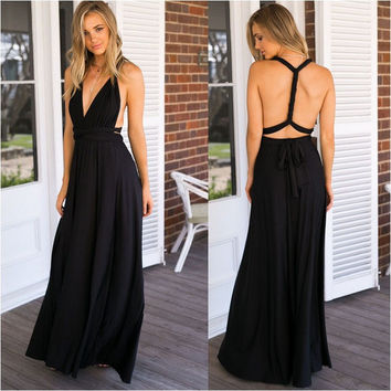 Fashion  Female Solid Color Sleeveless Low Chest Deep V Backless Crisscross Bandage A Variety Of Ways To Wear Maxi Dress